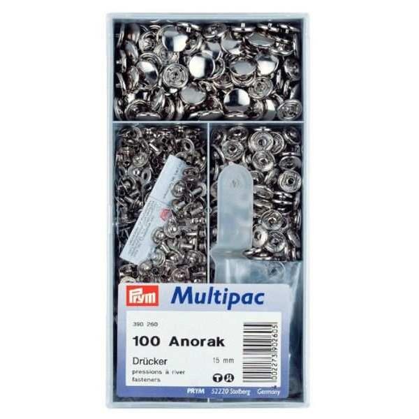 Кнопки Prym 390260 Anorak 15 мм серебристые Multipuc - Швейкин