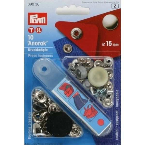 Кнопки Prym 390301 Anorak 15мм сріблясті - Швейкин