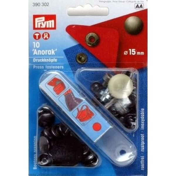 Кнопки Prym 390302 Anorak 15мм черный - Швейкин