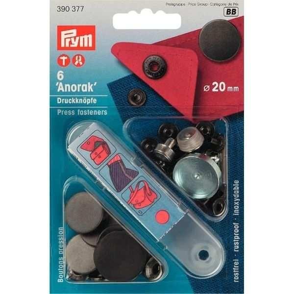 Кнопки Prym Anorak 20мм черные 390377 - Швейкин